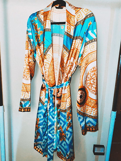 Unisex Baroque Print Satin Robe