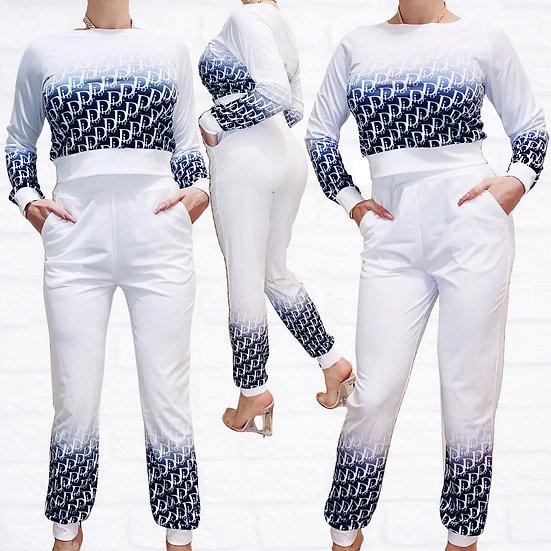 Long Sleeve Print Sweatshirt Suit Set
