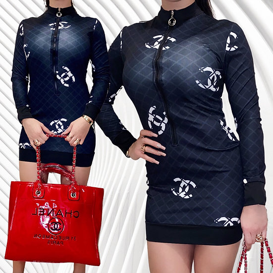 Cute Printed  Bodycon Dress Mini