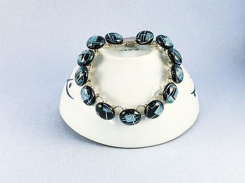 Black and Silver Glass Stones Bracelet