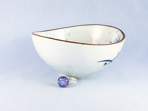 Pink Purple Patterned Glass Stone Ring
