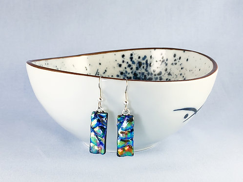 Multi Coloured Rippled Hanging Earrings