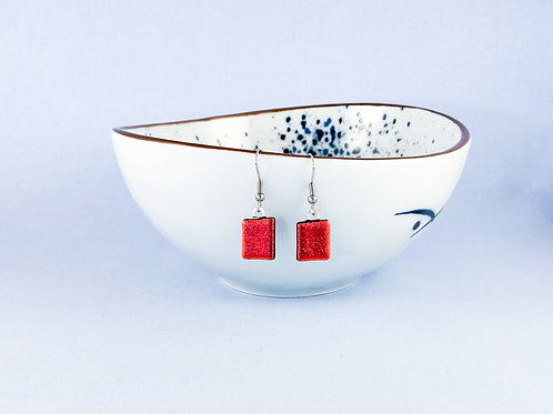 Red Dichroic Hanging Earrings
