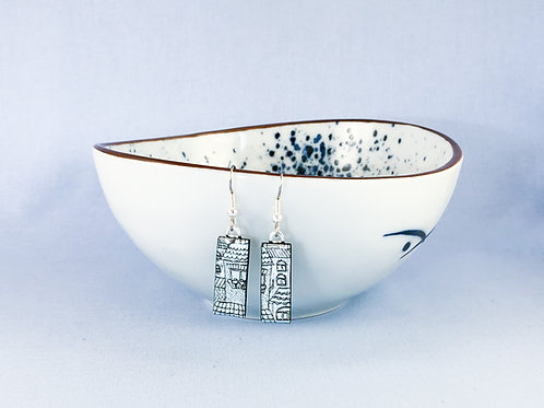 Silver Pattern Dichroic Hanging Earrings