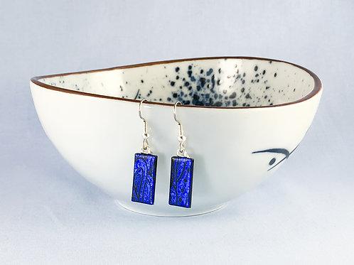 Blue Pattern Hanging Earrings