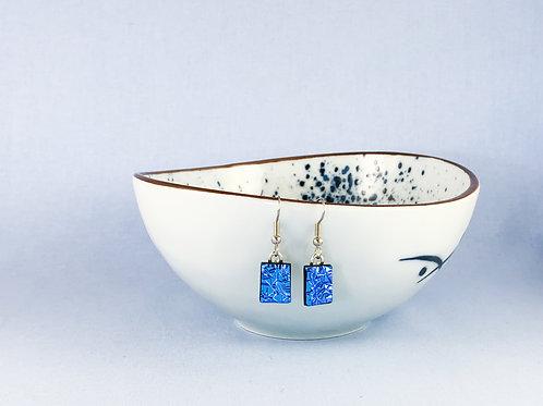 Blue Crinkle Dichroic Hanging Earrings