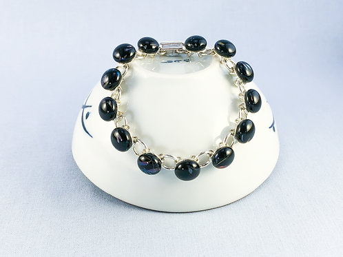 Black Dragonfly Glass Stones Bracelet