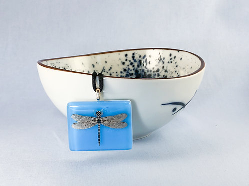 Dragonfly Decal on Sky Blue Necklace