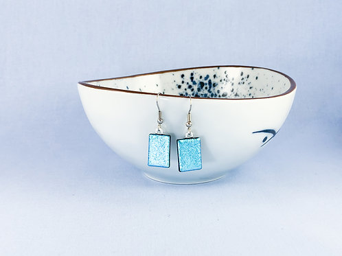 Sky Blue Dichroic Hanging Earrings