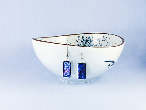 Patterned Dichroic Hanging Earrings