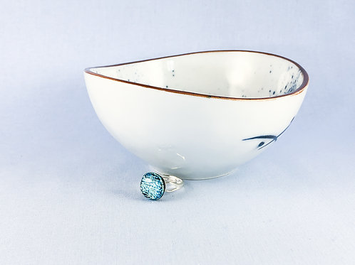 Blue Crinkle Glass Stone Ring
