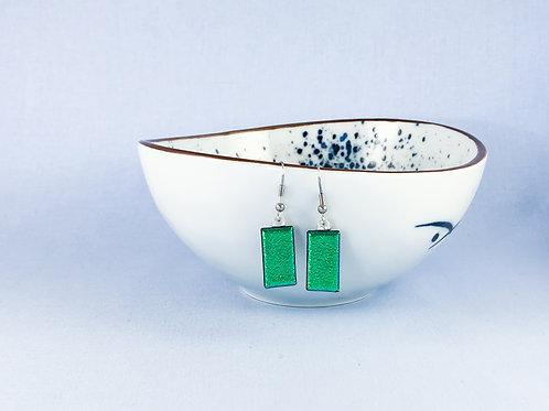 Green Dichroic Hanging Earrings