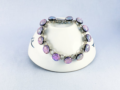 Pink Purple Glass Stones Bracelet