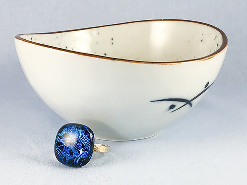 Blue Swirl Glass Stone Ring