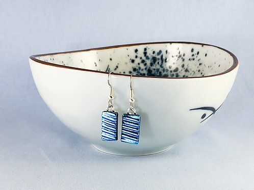 Blue Rippled Hanging Earrings