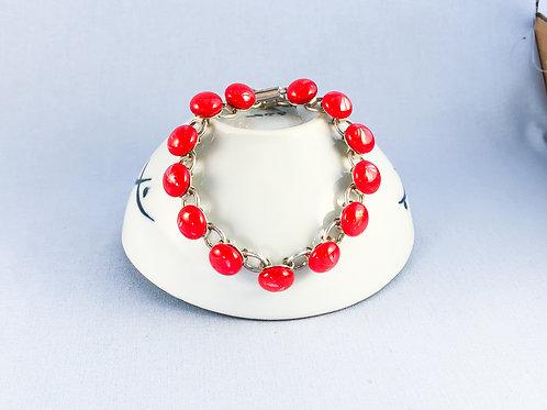 Red Dragonfly Glass Stones Bracelet