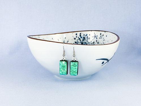 Green Crinkle Dichroic Hanging Earrings
