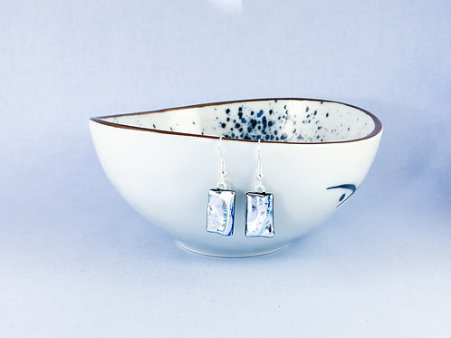 Silver Blue Dichroic Hanging Earrings
