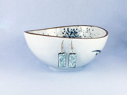 Silver Crinkle Dichroic Hanging Earrings