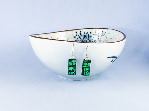 Patterned Green Dichroic Hanging Earrings