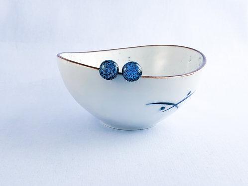 Blue Crinkle Studs