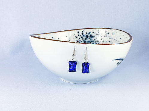 Blue Dichroic Hanging Earrings