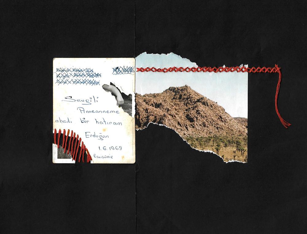 """Collage, tecnica mista su carta, realizzato con foto, ritagli di giornale e punto a manoTraduzione del testo sulla cartolina: """"Un ricordo eterno per la mia amata nonna"""""""