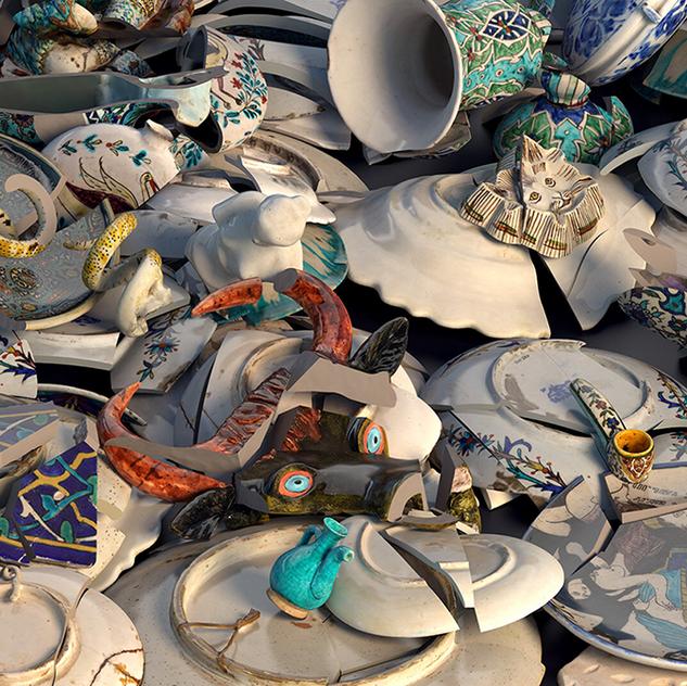 Zetaesse ospita Voronoi, opera realizzata dal collettivo oddviz, Voronoi combina 150 oggetti dalla collezione di piastrelle e ceramiche della fondazione Suna e İnan Kıraç
