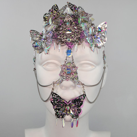 Metal Holographic Butterfly Face piece