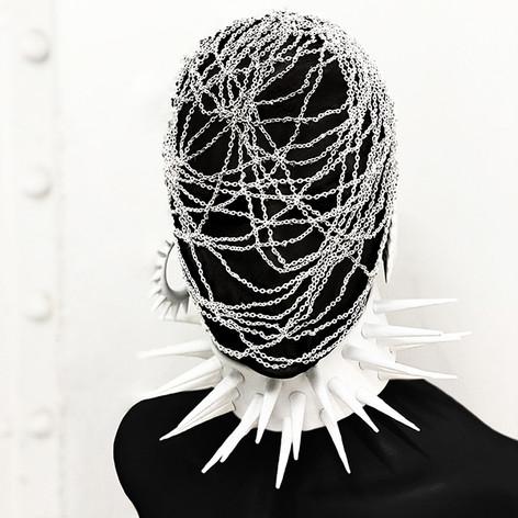 Balaclava Headpiece & White Choker