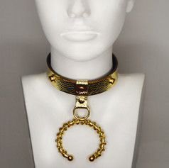 Gold Leather Choker Ring