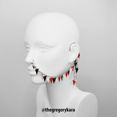 Black/Red/White Leather Earring