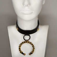 Black Leather Choker with Gold Ring