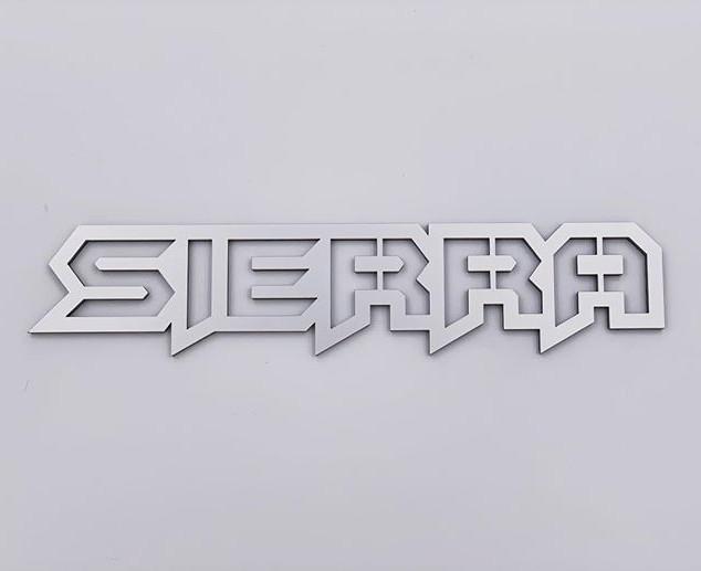 Custom SIERRA emblem in silver metallic.