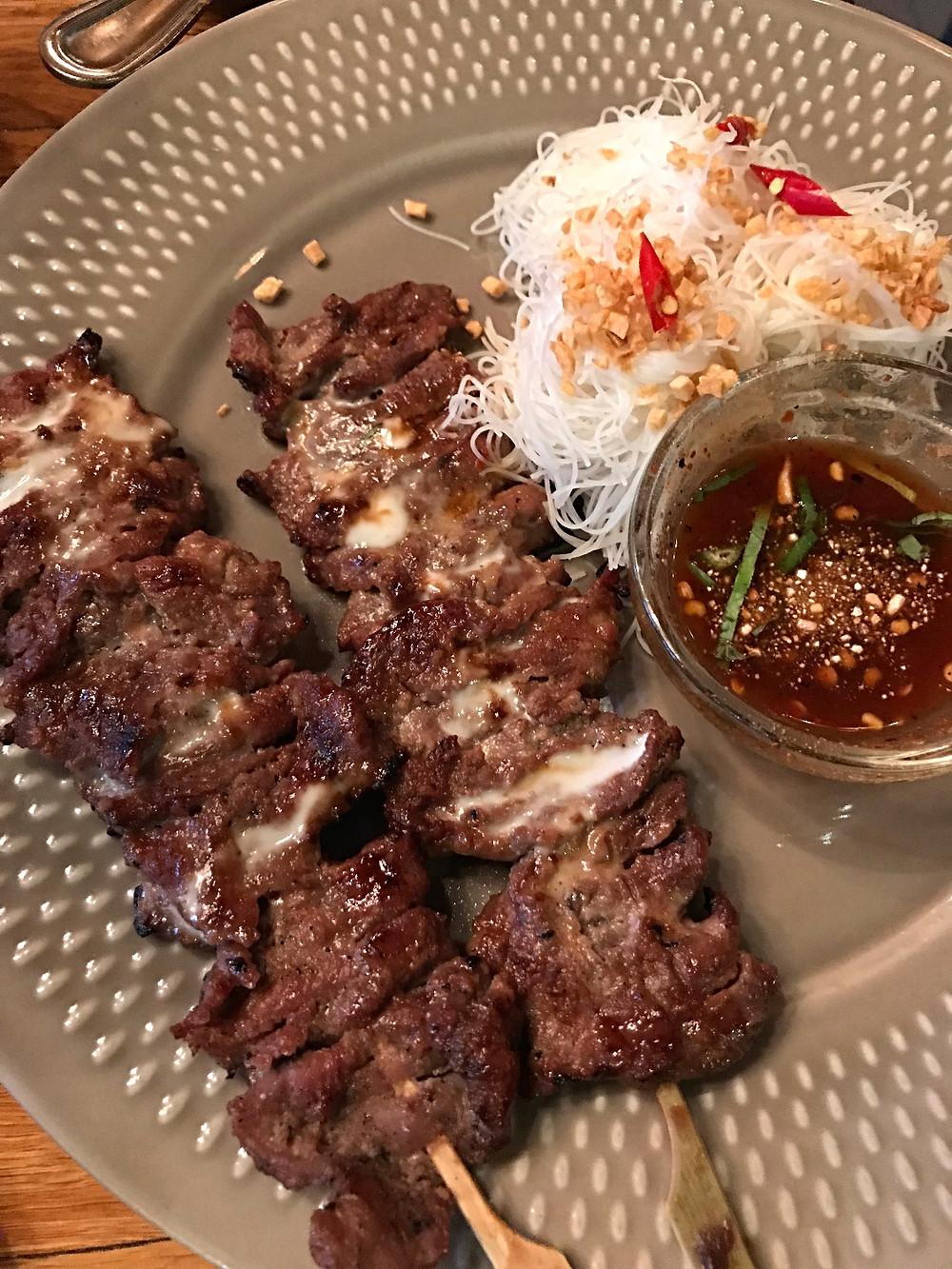 Somtum Der, beef skewers, East Village restaurants, kid friendly restaurants, Curious G and Me