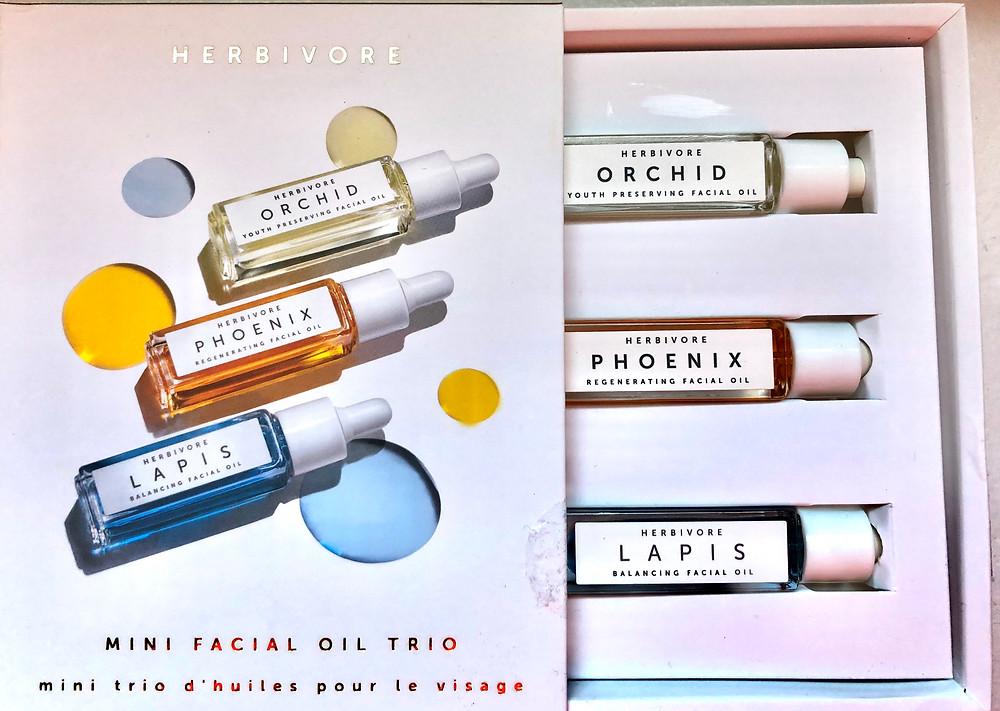 Herbivore facial oil, best facial oils, fix winter skin, Herbivore Orchid Oil, Herbivore Mini Facial oil trio