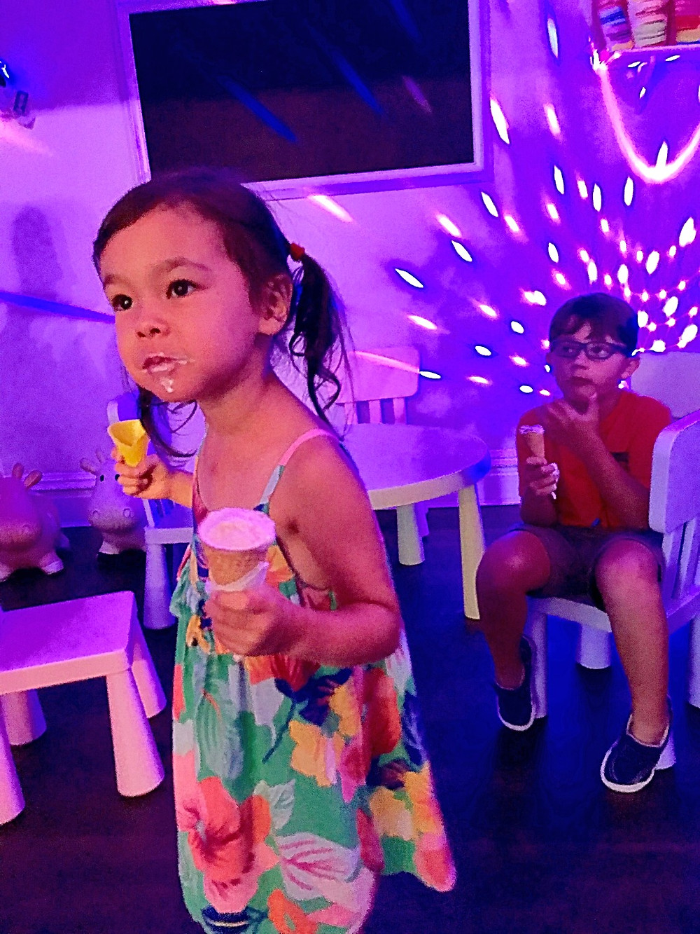 disco for kids, Al La Mode Ice Cream Shoppe, Curious G and Me, nut-free ice cream parlor, winter indoor fun guide for kids