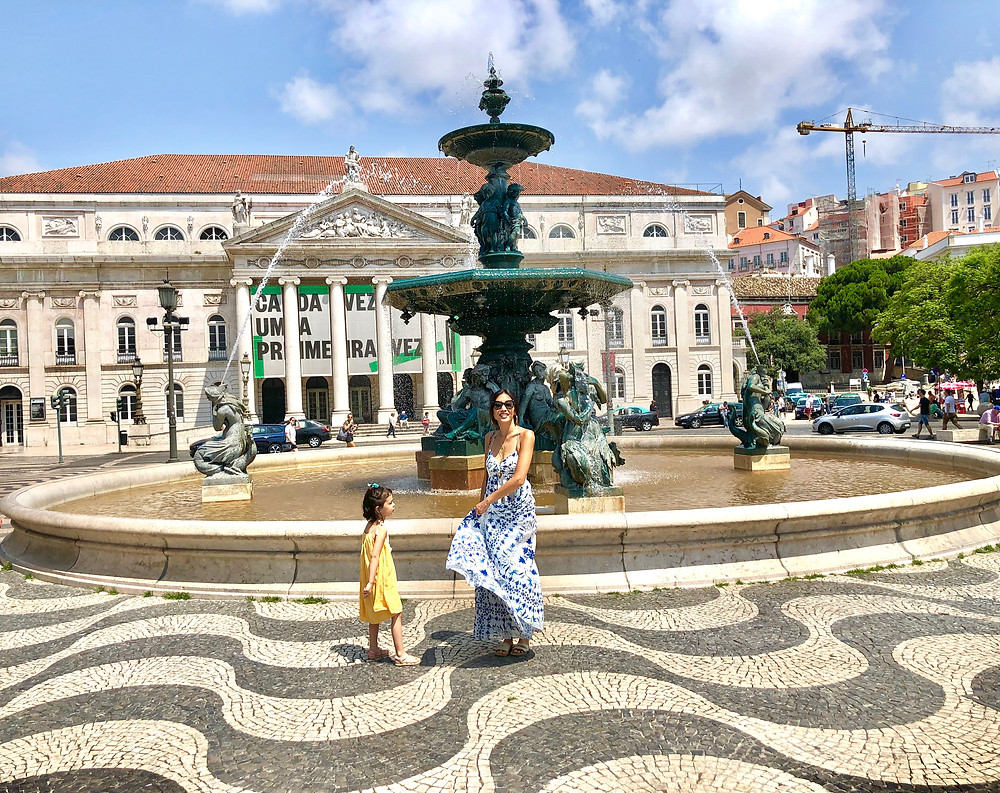 Curious G and Me, Portugal with kids, 4 day Lisbon itinerary, Summer travel with kids, Family travel guide, Sintra with kids, colorful Portugal, colorful Lisbon, photogenic Lisbon, photogenic Portugal, Lisbon with kids, Rossio Square, mommy and me maxi dresses, mommy and me