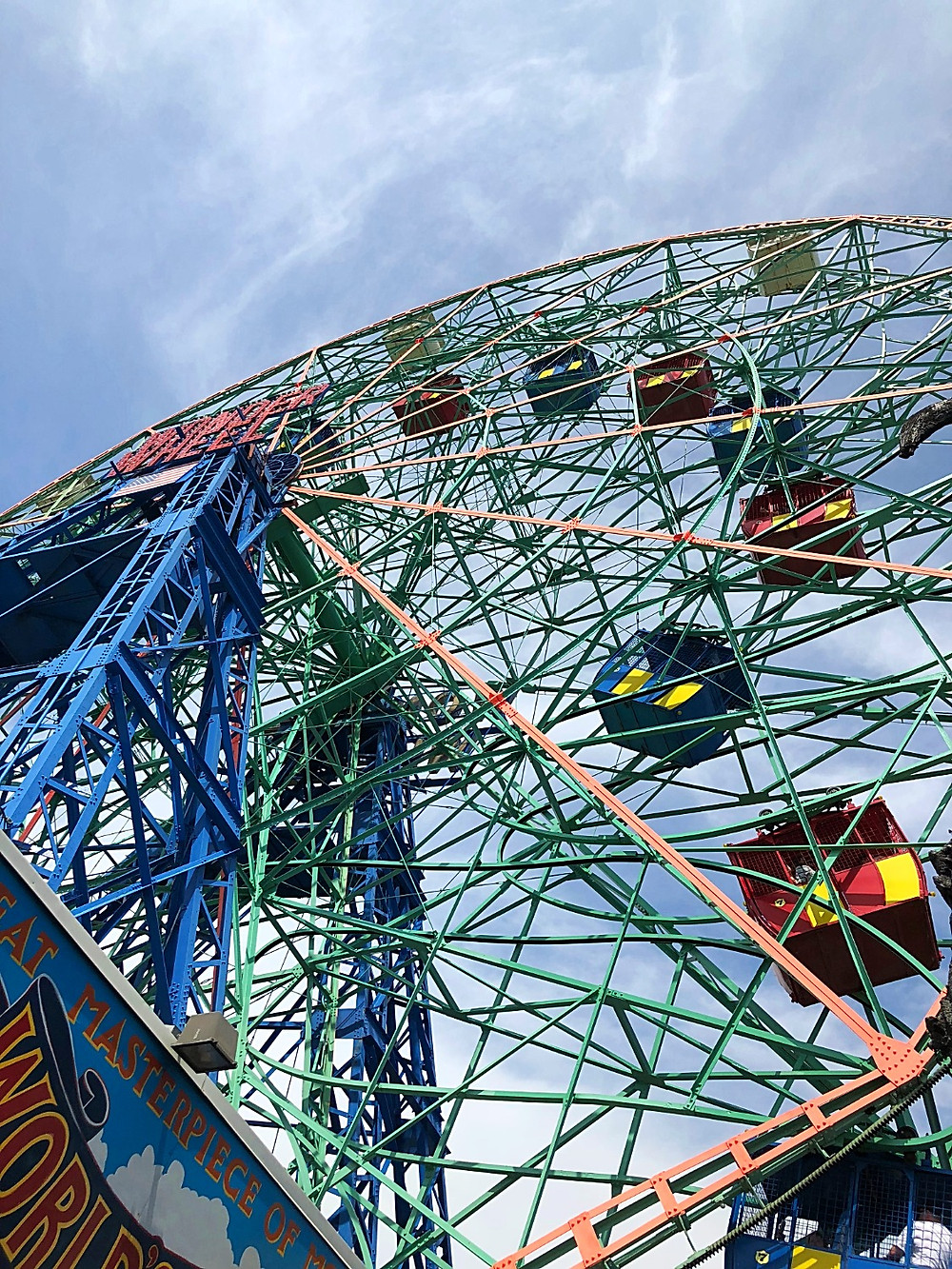 Coney Island, Wonder Wheel, Deno's Wonder Wheel Amusement Park, Coney Island with kids, Amusement Park with kids, kiddie rides, ferris wheel with kids, carnival games, Brooklyn with kids, ferris wheel from below