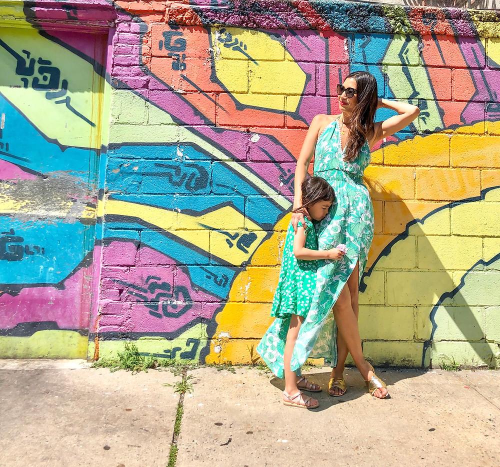 rainbow fashion, mommy and me fashion, world pride, Curious G and Me, rainbow art, rainbow art in NYC, Long Island City, Lost and Wander Maragarita maxi dress