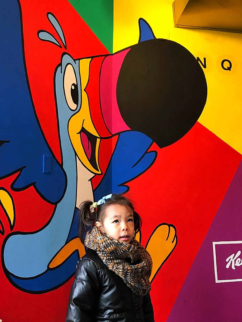 Kellogg's Cafe, Kellogg's NYC. Curious G and Me, Cereal cafe, Winter indoor fun guide for kids, Curious G and Me