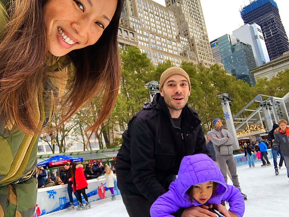 Holiday Bucket List, Fun things to do in NYC for the holidays with your kids, Instagram Bait, Holiday Pop Up, NYC Pop Up, Free in NYC, Curious G and Me, NYC family, NYC with kids, NYC Christmas, ice skating in NYC, ice skating family, Bryant Park Winter Village