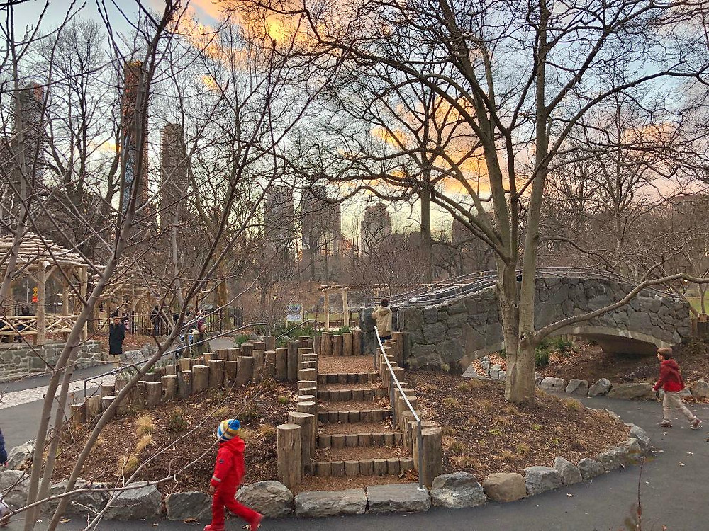 Curious G and Me, Billy Johnson Playground, Sunset in Central Park, best slide in NYC, Best NYC Playgrounds, NYC with Kids