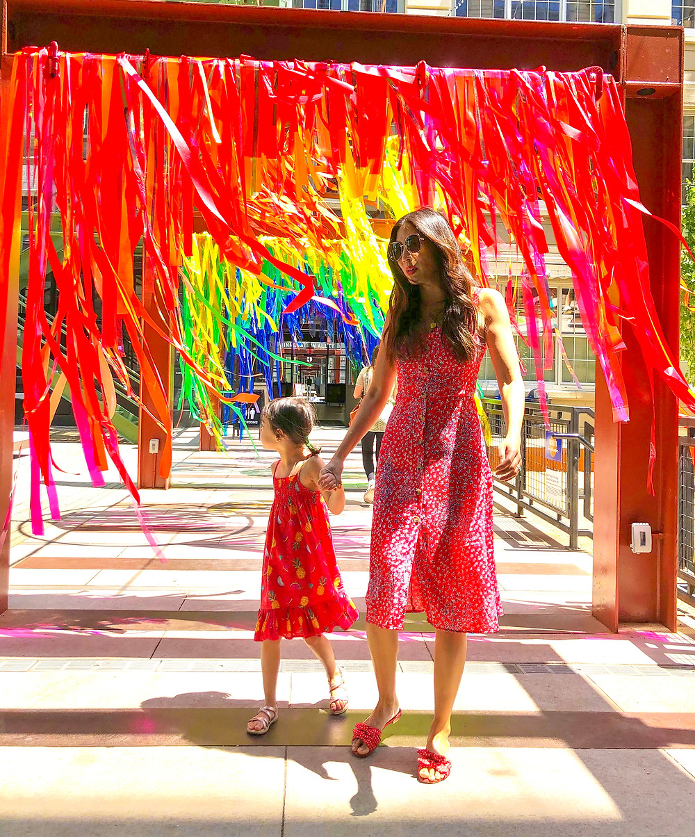 rainbow fashion, mommy and me fashion, world pride, Curious G and Me, rainbow art, rainbow art in NYC, Industry City, Theresa Rivera Design, Nightwalker Chloe dress