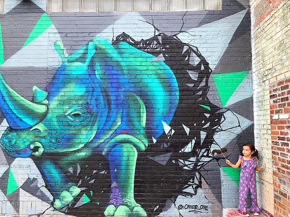 Denver with kids, RiNo, River North Arts District, Crush Walls, Denver art, Kate Moss, James Dean, Zeppelin Station, Revno