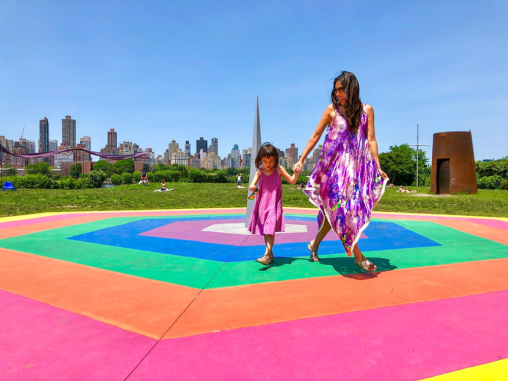 rainbow fashion, mommy and me fashion, world pride, Curious G and Me, rainbow art, rainbow art in NYC, Socrates Sculpture Park, Eduardo Navarro,  Galactic Playground