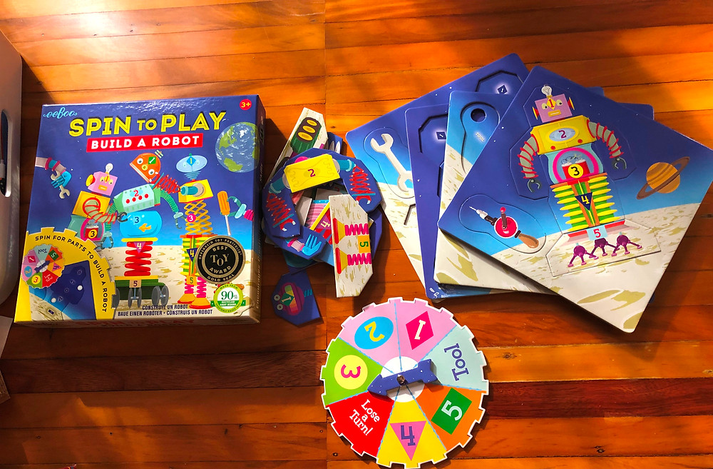 best floor puzzles for toddlers, Curious G and Me, Best board games for toddlers, eboo, Spin To Play, Build A Robot, best spinner games for toddlers