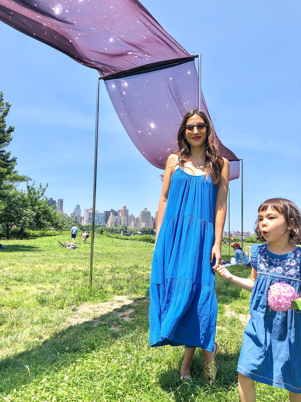 rainbow fashion, mommy and me fashion, world pride, Curious G and Me, rainbow art, rainbow art in NYC, Socrates Sculpture Park, Chronos Cosmos, Miya Ando, Ginga, Xirena Ruby dress