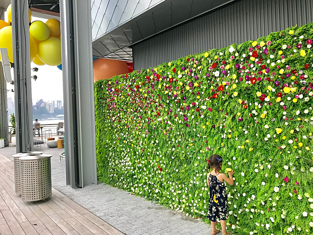 South Street Seaport with kids, NYC Ferry with kids, Downtown Manhattan with kids, Pier 17, Geronimo, balloon art, Manhattan skyline, Curious G and Me, floral wall, living wall