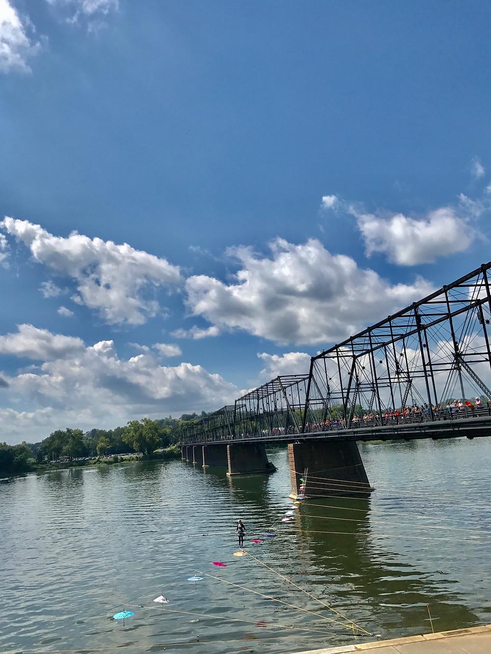 Tightrope, Harrisburg city island, Walnut Street Pedestrian Bridge, Curious G and Me, Harrisburg with kids, choo choo train, City Island carousel